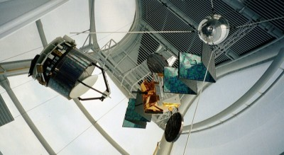 A selection of spacecraft on display in the rocket-shaped tower