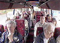 Members in the bus heading for the next mystery stop